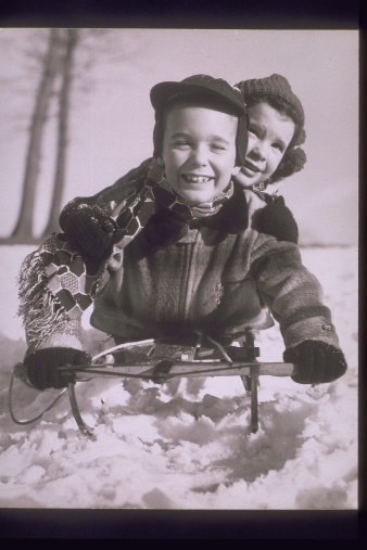 50s kids on toboggan